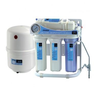 Система обратного осмоса и фильтрации воды CAC-ZO-5P/G (с насосом и манометром)