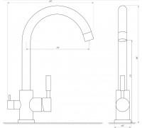 Смеситель GLLR-0333 StSTEEL LAZER ЦВЕТ НЕРЖАВЕЙКА Globus Lux комбинированный под ОСМОС на гайке