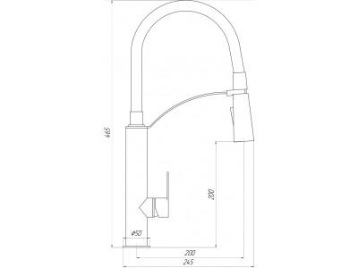 Смеситель кухонный TOPAZ BARTS-TB- 8817-H18 черный