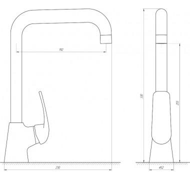 Смеситель KOLN GLK-203L Globus Lux на гайке для кухни