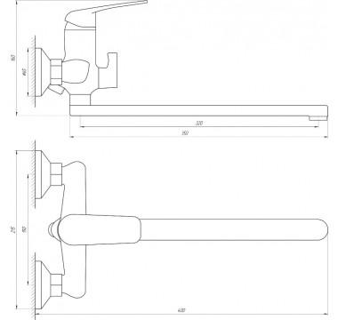 Смеситель для ванны Globus Lux KOLN GLK-208 EURO, L-350, душевой комплект