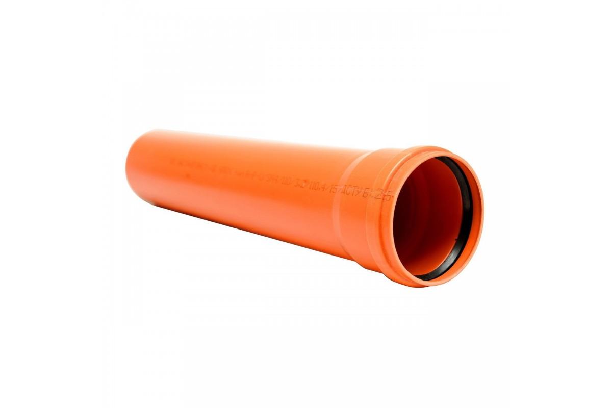 Труба канализационная Мпласт ПВХ SDR 41 (SN2) 110x2,7 для наружной канализации